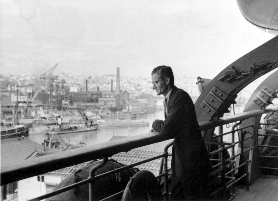 Harry looks over the Marseilles harbor, circa 1940
